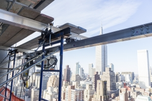 Monorail Trolley rigging for Curtain Wall Glass Installation - Midtown Manhattan, NYC