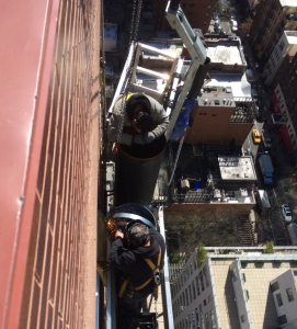 Scaffold platform and basket to perform exhaust pipe installation in NYC