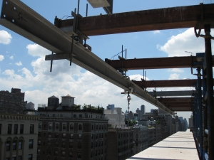 West End Avenue, NYC - rigging monorail system to hoist stones into place