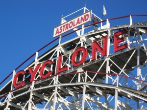 The Cyclone Rollercoaster - Brooklyn, NY - complete repainting with extensive prep work including steel and wood replacement