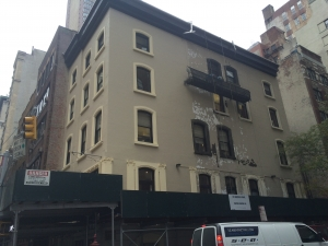 Bowery Mission on Madison Avenue - exterior refurbishment with suspended scaffold