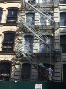 Fire Escape Painting NYC on Broome Street, New York