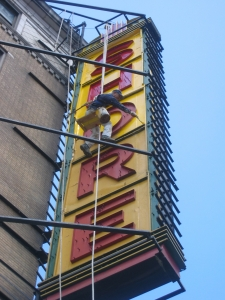 Shore Theatre Brooklyn NY - metal repair and painting using boatswain chair